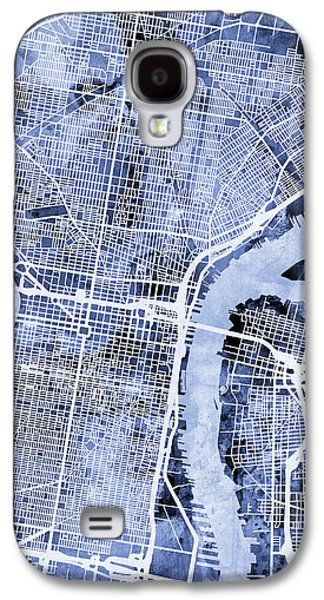 Philadelphia Pennsylvania City Street Map Galaxy S4 Case by Michael Tompsett