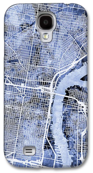Philadelphia Pennsylvania City Street Map Galaxy S4 Case by Michael Tompsett
