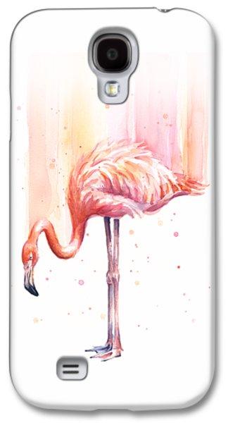 Pink Flamingo Watercolor Rain Galaxy S4 Case by Olga Shvartsur