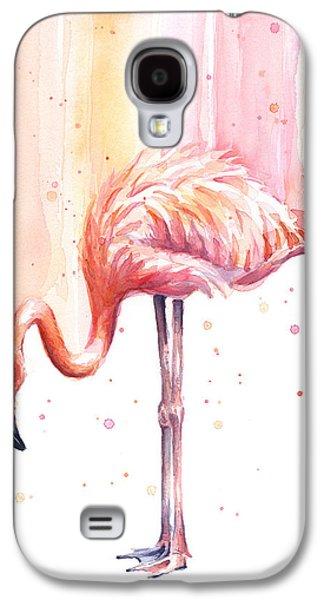 Pink Flamingo Watercolor Rain Galaxy S4 Case
