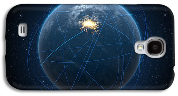 Abstract Movement Galaxy S4 Case - Planet With Illuminated City And Light Trails by Allan Swart