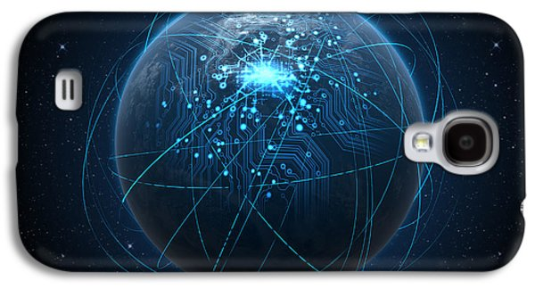Abstract Movement Galaxy S4 Case - Planet With Illuminated Network And Light Trails by Allan Swart