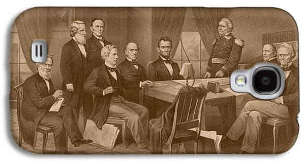 President Lincoln - His Cabinet And General Scott Galaxy S4 Case by War Is Hell Store