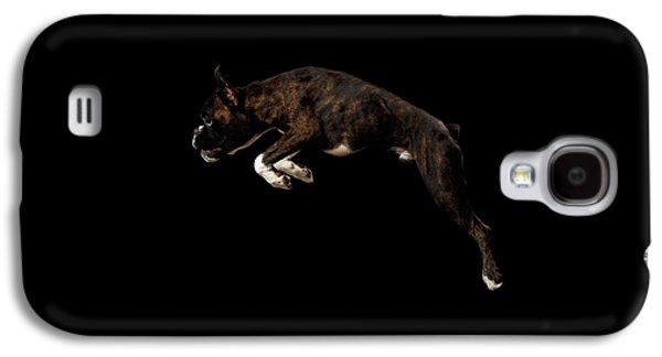 Dog Galaxy S4 Case - Purebred Boxer Dog Isolated On Black Background by Sergey Taran