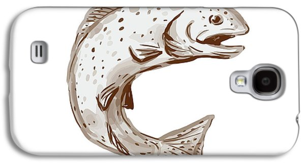 Rainbow Trout Jumping Watercolor Galaxy S4 Case