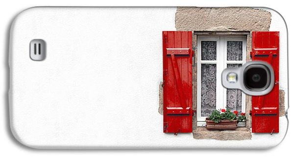 Red Shuttered Window On White Galaxy S4 Case by Jane Rix