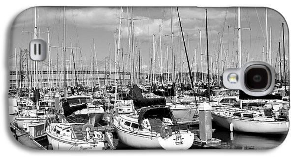 Docked Boat Galaxy S4 Cases - Sail Boats at San Francisco China Basin Pier 42 With The Bay Bridge in The Background . 7D7666 Galaxy S4 Case by Wingsdomain Art and Photography