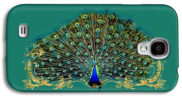 Scroll Swirl Art Deco Nouveau Peacock W Tail Feathers Spread Galaxy S4 Case