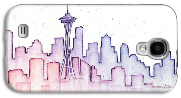 Seattle Skyline Watercolor Galaxy S4 Case