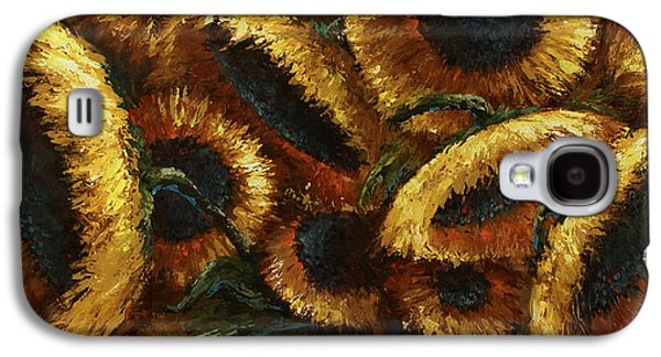 Pallet Knife Galaxy S4 Cases - Sunflowers Galaxy S4 Case by Michael Lang