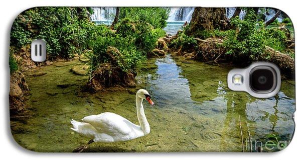 Swan In The Waterfalls Of Skradinski Buk At Krka National Park In Croatia Galaxy S4 Case