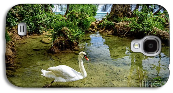 Swan In The Waterfalls Of Skradinski Buk At Krka National Park In Croatia Galaxy S4 Case