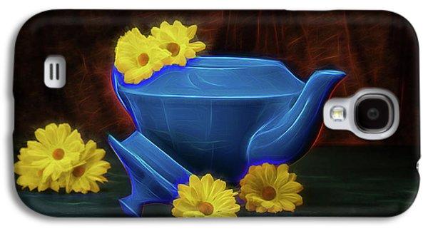 Tea Kettle With Daisies Still Life Galaxy S4 Case by Tom Mc Nemar