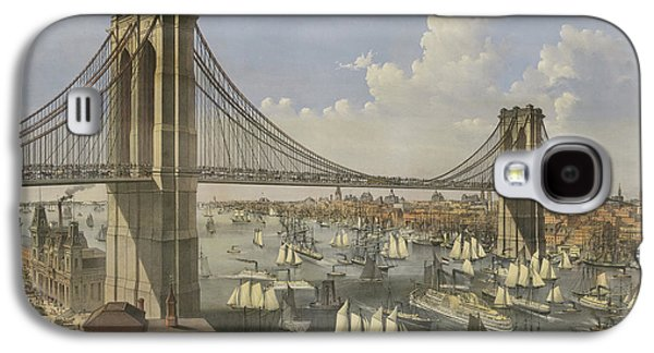 The Great East River Suspension Bridge Galaxy S4 Case by Currier and Ives
