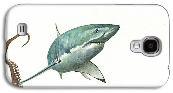 Hammerhead Shark Galaxy S4 Case - The Great White Shark And The Octopus by Juan Bosco