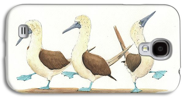 Three Blue Footed Boobies Galaxy S4 Case by Juan Bosco