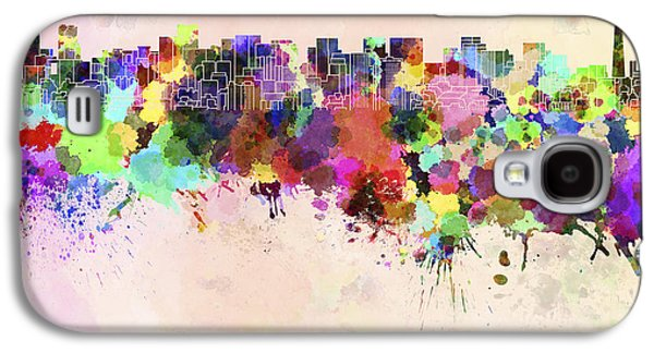 Tokyo Skyline In Watercolor Background Galaxy S4 Case by Pablo Romero