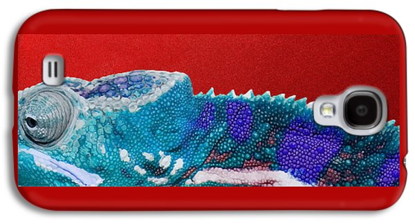 Bright Galaxy S4 Case - Turquoise Chameleon On Red by Serge Averbukh