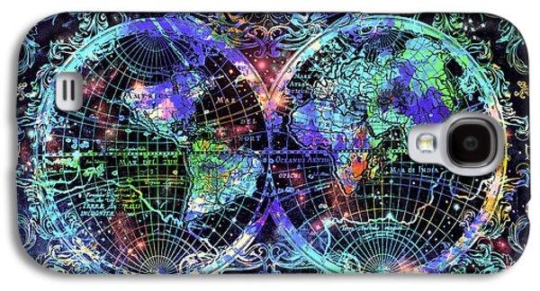World Map Antique 12 Galaxy S4 Case by Bekim Art