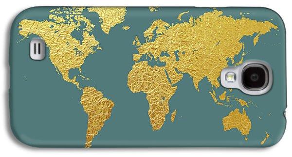 Gold Galaxy S4 Case - World Map Gold Foil by Michael Tompsett
