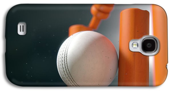Cricket Ball Hitting Wickets Galaxy S4 Case by Allan Swart
