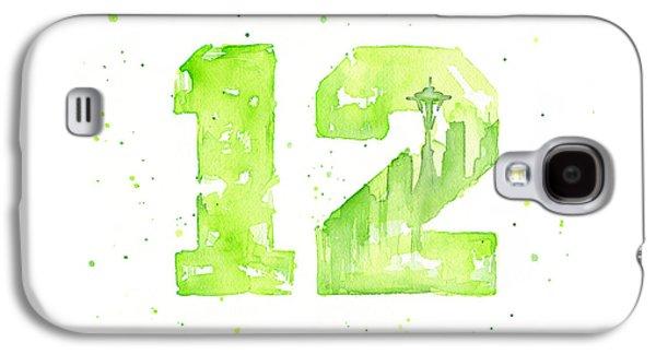 Seattle Galaxy S4 Case - 12th Man Seahawks Art Go Hawks by Olga Shvartsur