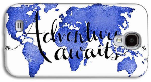 12x16 Adventure Awaits Blue Map Art Galaxy S4 Case by Michelle Eshleman