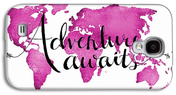Travel Galaxy S4 Case - 12x16 Adventure Awaits Pink Map by Michelle Eshleman