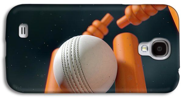 Cricket Ball Hitting Wickets Galaxy S4 Case