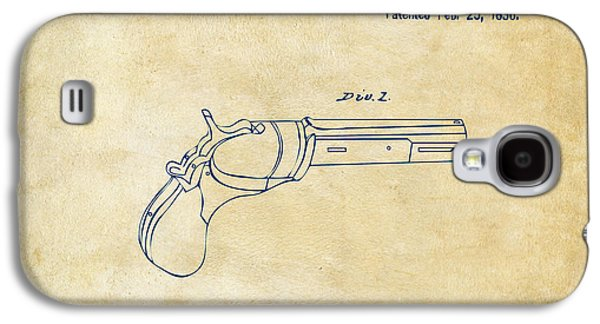 Lines Drawings Galaxy S4 Cases - 1836 First Colt Revolver Patent Artwork - Vintage Galaxy S4 Case by Nikki Marie Smith