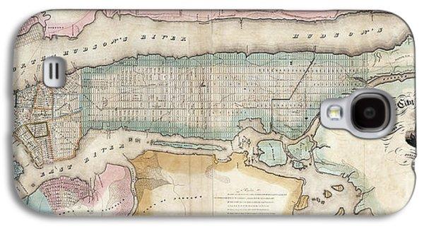 1852 New York City Map Galaxy S4 Case by Jon Neidert