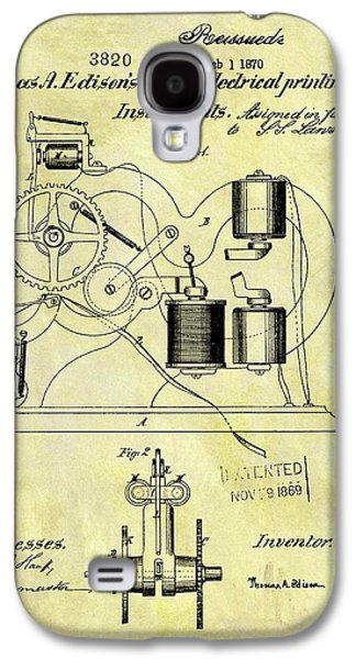 1870 Thomas Edison Patent Galaxy S4 Case by Dan Sproul