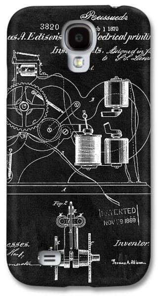1870 Thomas Edison Print Patent Galaxy S4 Case by Dan Sproul