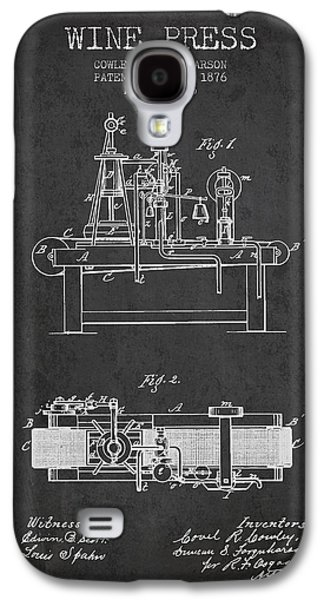 1876 Wine Press Patent - Charcoal Galaxy S4 Case by Aged Pixel