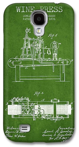 1876 Wine Press Patent - Green Galaxy S4 Case by Aged Pixel