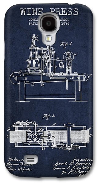 1876 Wine Press Patent - Navy Blue Galaxy S4 Case by Aged Pixel