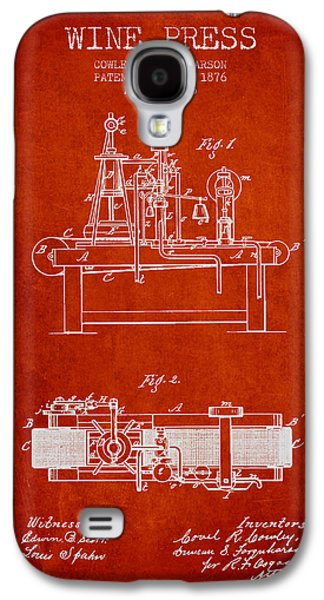 1876 Wine Press Patent - Red Galaxy S4 Case by Aged Pixel