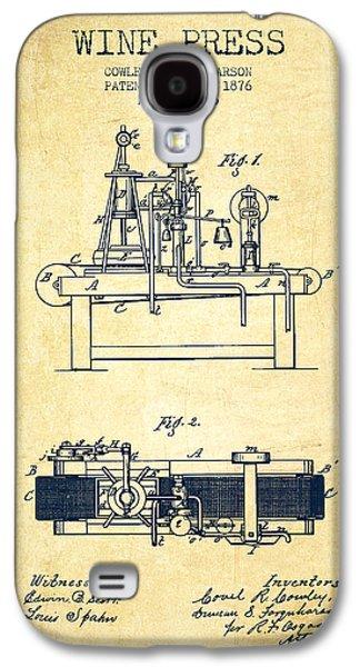 1876 Wine Press Patent - Vintage Galaxy S4 Case by Aged Pixel