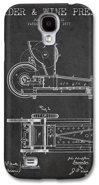 1877 Cider And Wine Press Patent - Charcoal Galaxy S4 Case by Aged Pixel