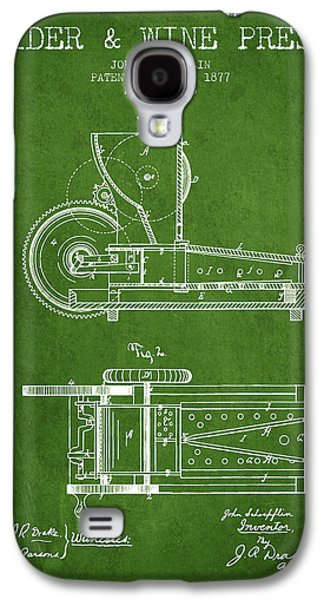 1877 Cider And Wine Press Patent - Green Galaxy S4 Case by Aged Pixel