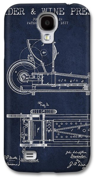 1877 Cider And Wine Press Patent - Navy Blue Galaxy S4 Case by Aged Pixel