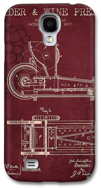 1877 Cider And Wine Press Patent - Red Wine Galaxy S4 Case by Aged Pixel