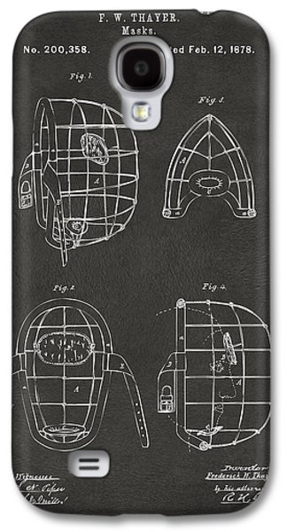 1878 Baseball Catchers Mask Patent - Gray Galaxy S4 Case by Nikki Marie Smith