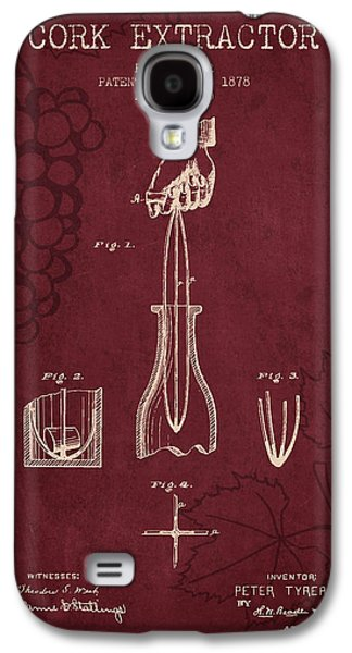 1878 Cork Extractor Patent - Red Wine Galaxy S4 Case by Aged Pixel