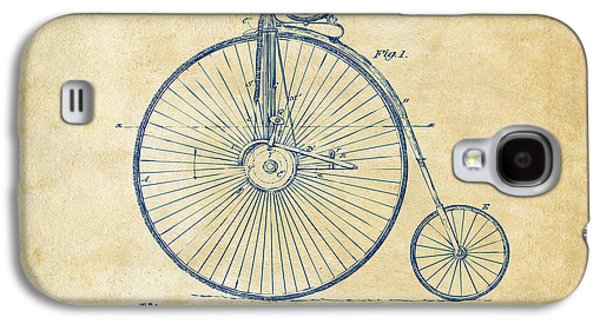 Lines Drawings Galaxy S4 Cases - 1881 Velocipede Bicycle Patent Artwork - Vintage Galaxy S4 Case by Nikki Marie Smith