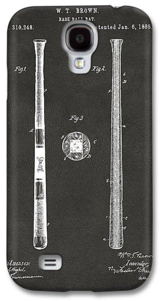 1885 Baseball Bat Patent Artwork - Gray Galaxy S4 Case by Nikki Marie Smith