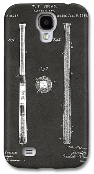 1885 Baseball Bat Patent Artwork - Gray Galaxy S4 Case by Nikki Marie Smith