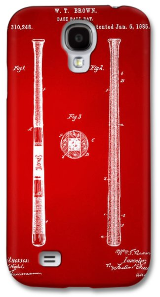 1885 Baseball Bat Patent Artwork - Red Galaxy S4 Case by Nikki Marie Smith