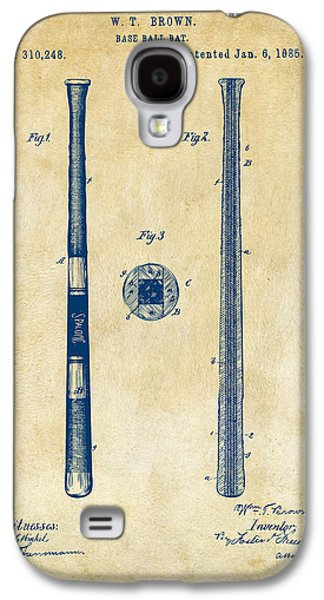 1885 Baseball Bat Patent Artwork - Vintage Galaxy S4 Case by Nikki Marie Smith