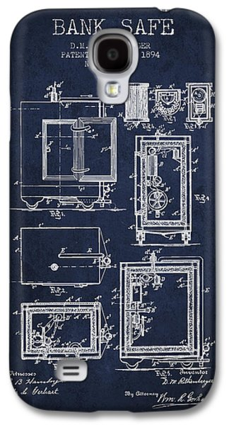 1894 Bank Safe Patent - Navy Blue Galaxy S4 Case by Aged Pixel